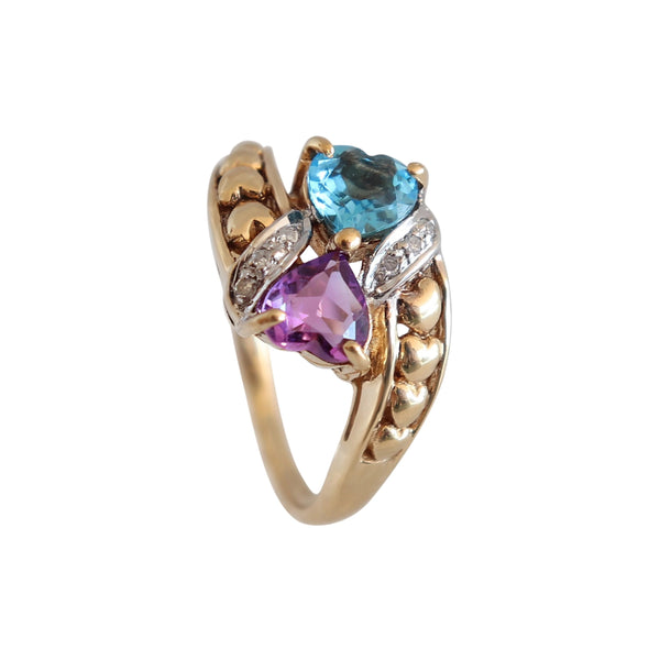 9 kt Yellow Gold and Blue Topaz and Amethyst Heart Ring