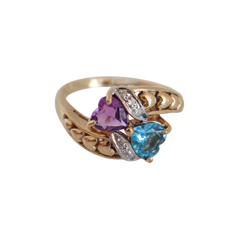 Heart Amethyst and Blue Topaz Ring with Diamonds set in 9 kt Yellow Gold