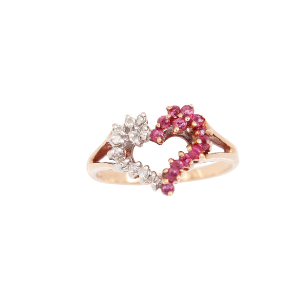 Diamond and Ruby Heart Shaped Ring