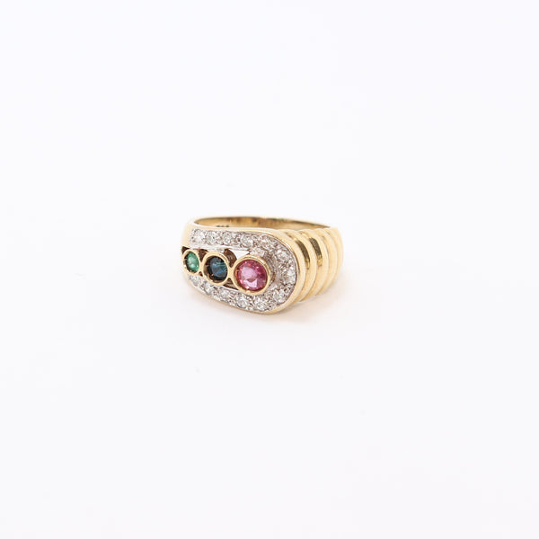 9 kt Yellow Gold Blue and Pink Sapphires and Diamond Dress Ring
