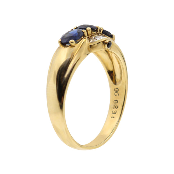 Yellow Gold and Baguette Cut Diamonds with Natural Blue Sapphires