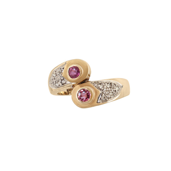 Tube set Rubies and Pave Diamond Ring