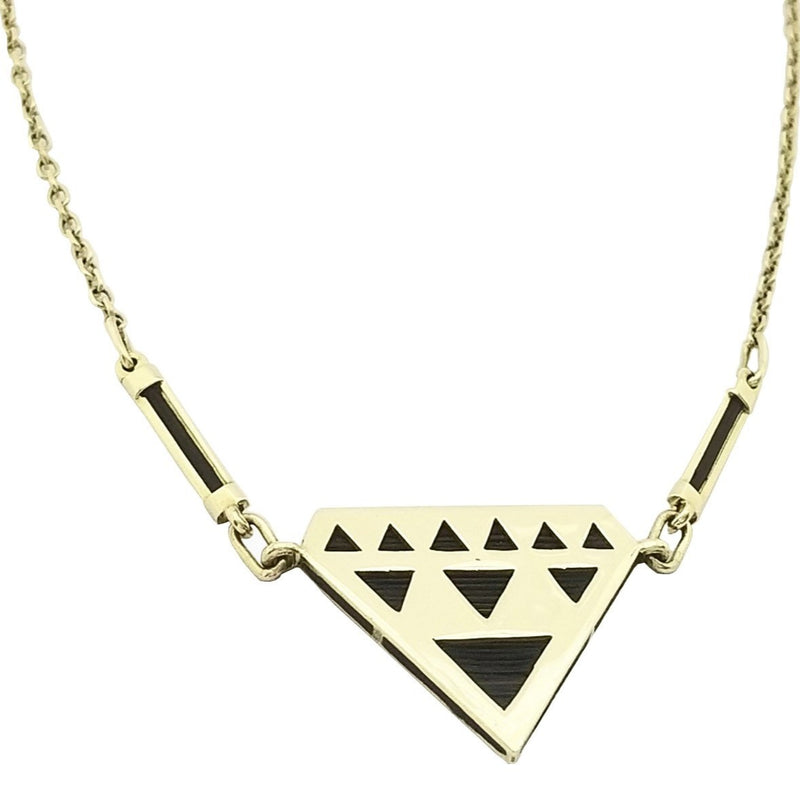 Triangle Gold Necklace with Elephant Hair - Cape Diamond Exchange