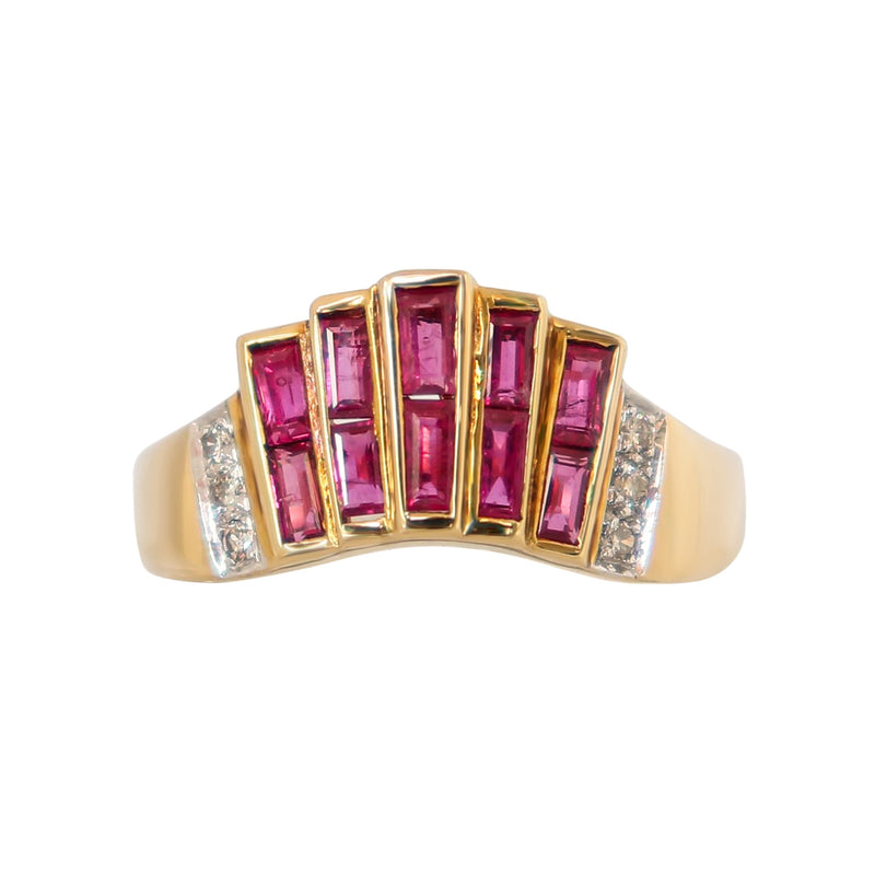 Yellow Gold Ruby and Diamond Ring - cape diamond exchange