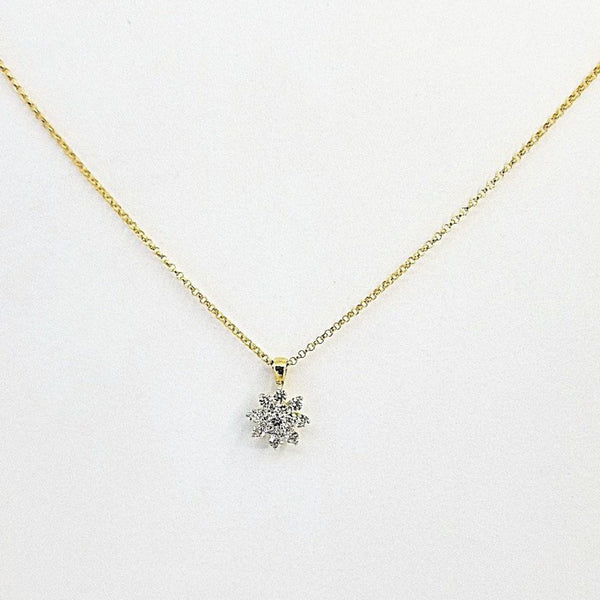 9 kt Yellow Gold and Diamonds Cluster Pendant - Cape Diamond Exchange