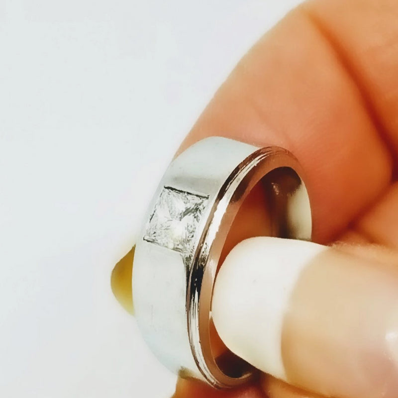 18 kt White Gold Unisex Ring Princess Cut - Cape Diamond Exchange