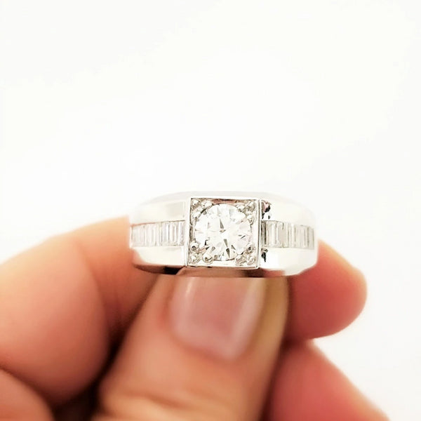 White Gold Man's Ring with a Center Diamond and Baguettes - Cape Diamond Exchange