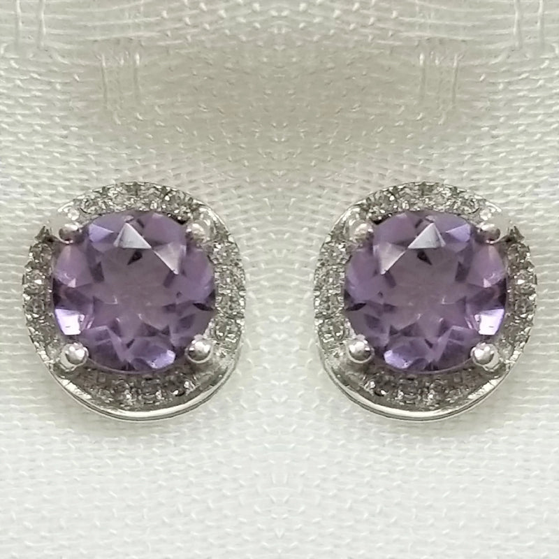9 kt White Gold Amethyst and Diamond Earrings - Cape Diamond Exchange