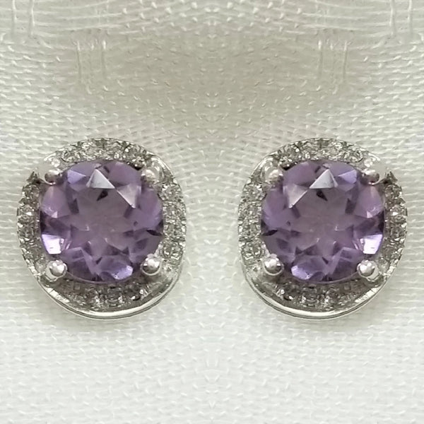 White Gold, Amethyst and Diamond Earring