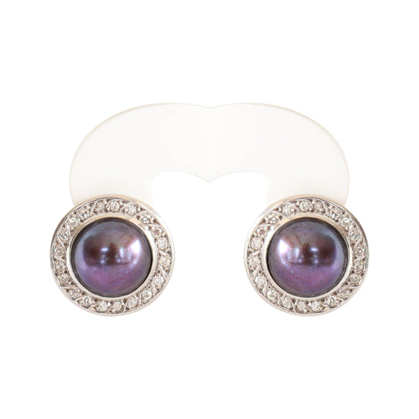Black Mabe Pearl and Diamond stud Earrings