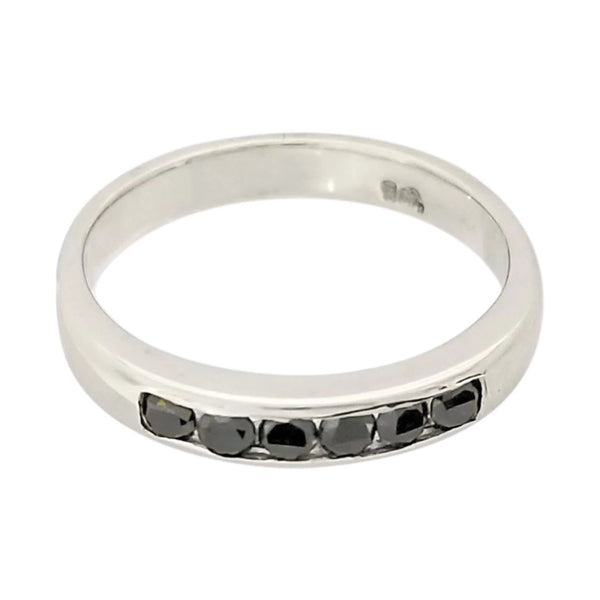 Channel Setting Black Diamonds in White Gold