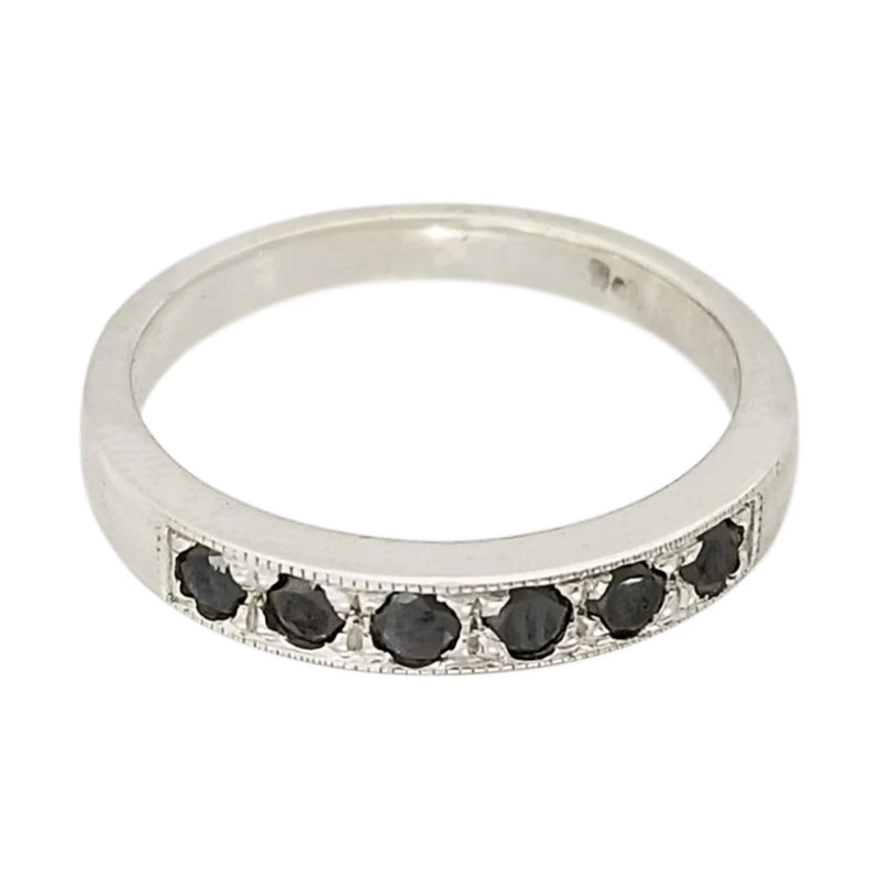 9 kt White Gold Ring with Black Diamonds - Cape Diamond Exchange
