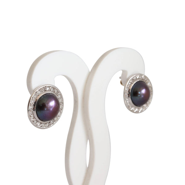 Round Black Mabe Pearl and Diamond Earrings set in 18 kt White Gold