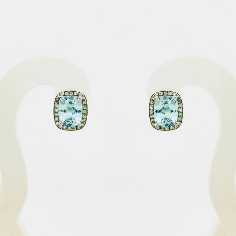 9 kt White Gold and Blue Topaz Diamond Earrings - Cape Diamond Exchange
