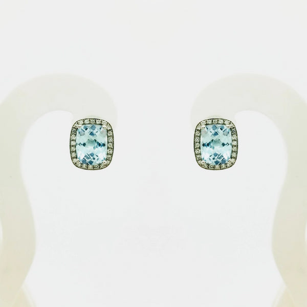 Blue Topaz and Diamonds Earrings