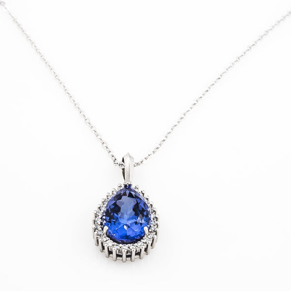 Pear Shape Tanzanite Halo Pendant - Cape Diamond Exchange