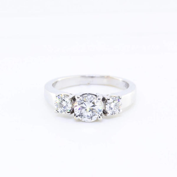 18 Kt White Gold and Diamond Trilogy Ring - Cape Diamond Exchange