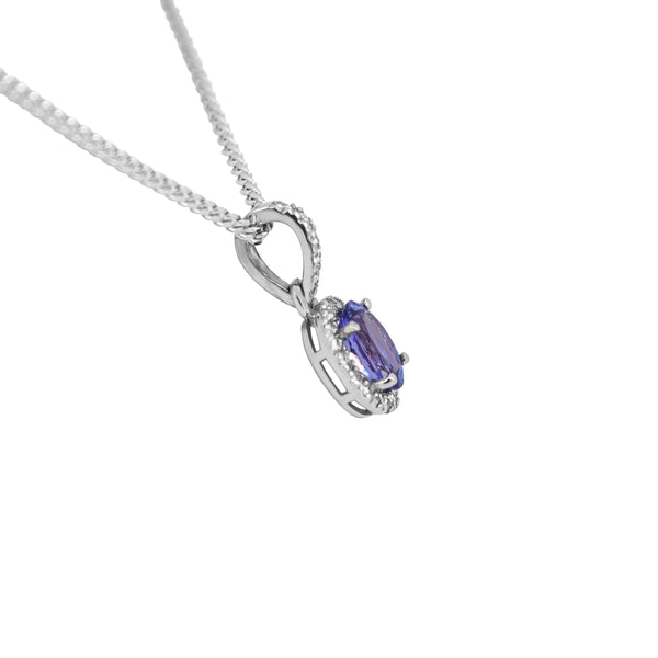 Tanzanite and Diamond Pendant set in White Gold