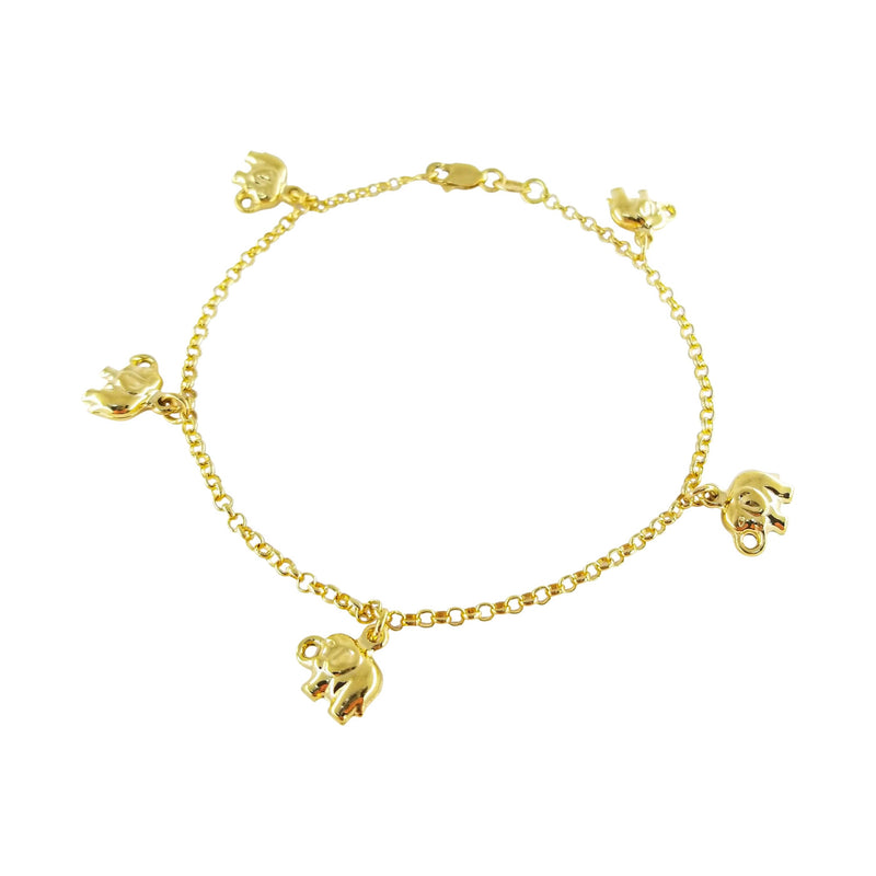 18 kt Yellow Gold Bracelet with Elephant Charms - Cape Diamond Exchange