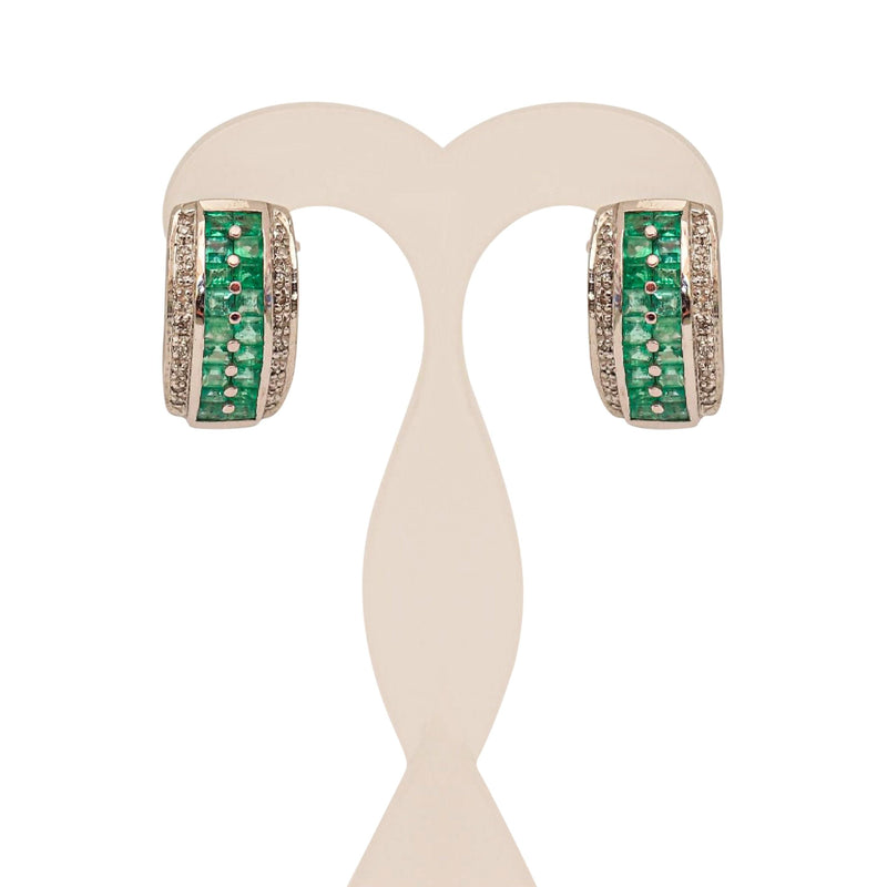 18 kt White Gold Earrings with Emeralds and Diamonds goldandjewelleryincapetown.myshopify.com