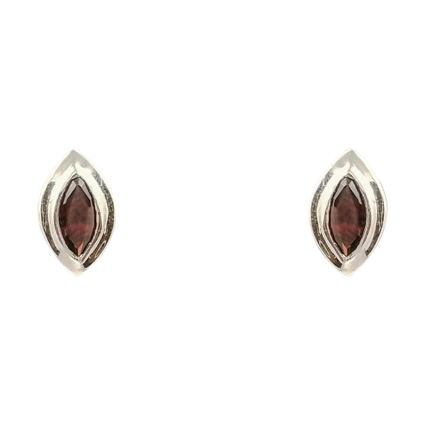 Marquise Shape Garnet Earrings, in 18kt WhIte Gold - Cape Diamond Exchange