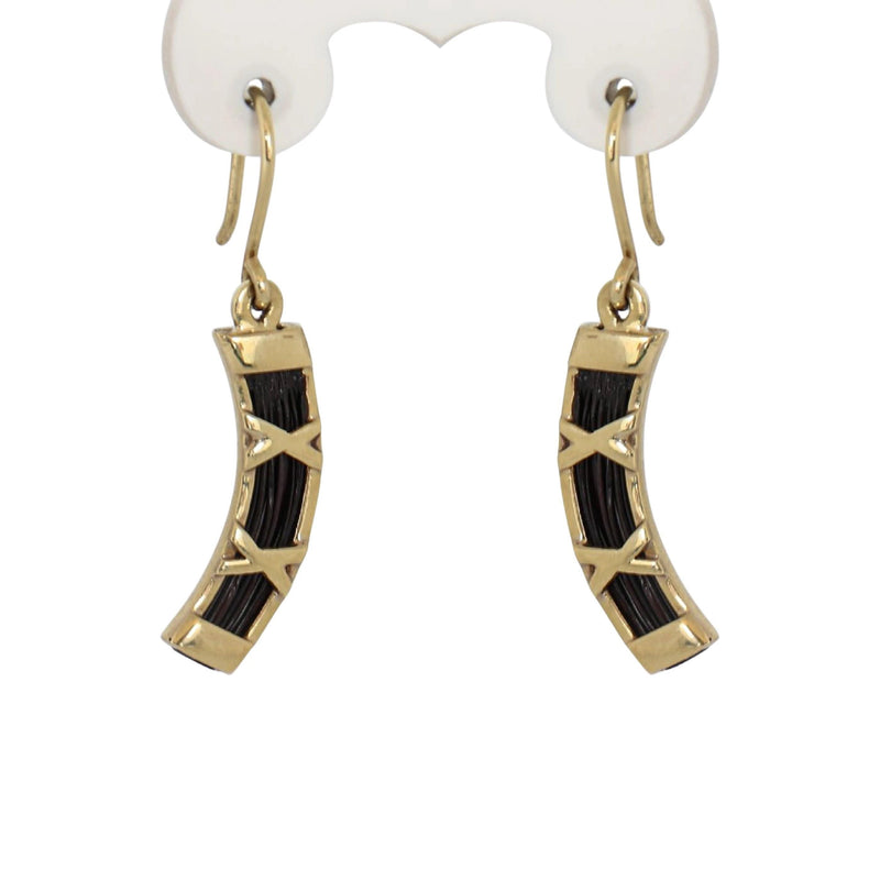 Elephant Hair Earrings set in 14 kt Yellow Gold