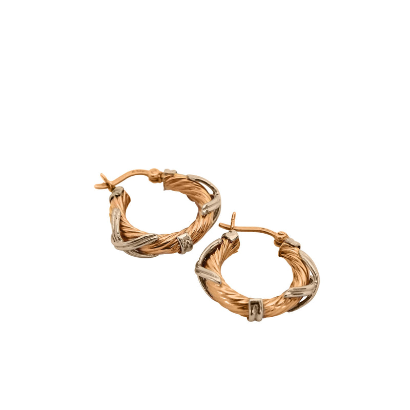 Two-toned Hoop Earrings in 18 kt White and Yellow Gold