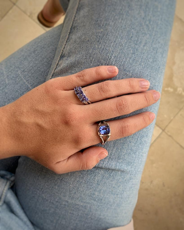 White Gold Cushion Tanzanite Split-band Ring