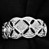 Diamond Engagement Lace Ring White and Yellow Gold, 18kt