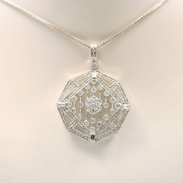 18kt White Gold Filigree Diamond Pendant - Cape Diamond Exchange