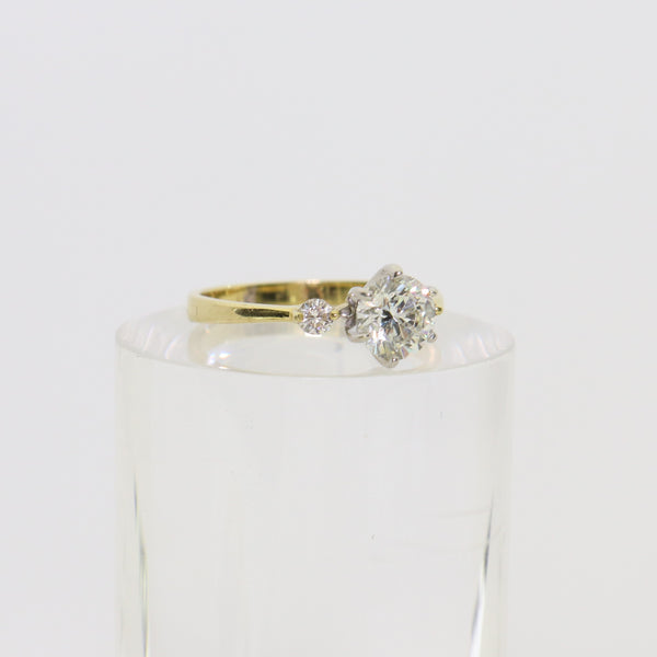18 kt Yellow Gold Solitaire And Diamond Engagement Ring - Cape Diamond Exchange