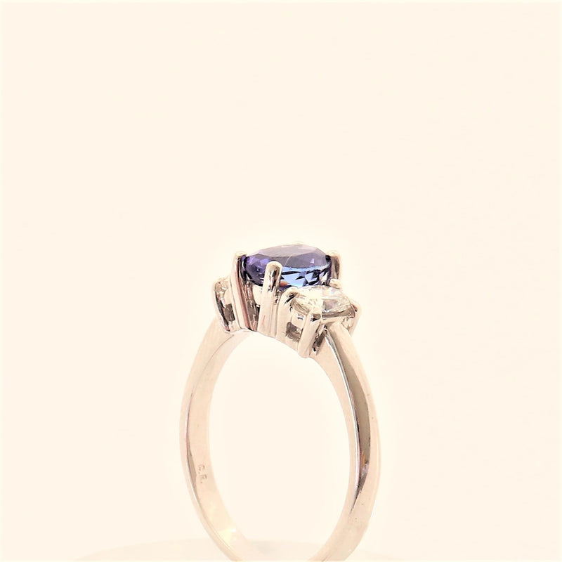 18kt White Gold Oval Tanzanite and Diamond Ring - Cape Diamond Exchange