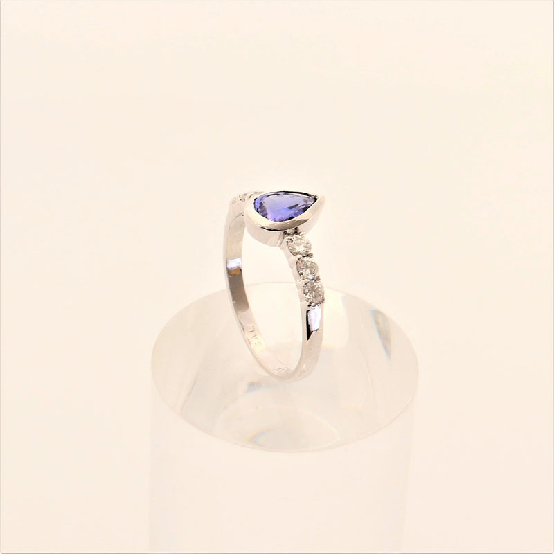 9kt White Gold Diamond and Pear Tanzanite Ring - Cape Diamond Exchange