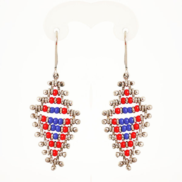 Red and Blue African Bead Hanging Earrings
