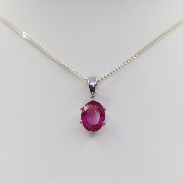 Oval Cut Rubellite Tourmaline Pendant set in White Gold