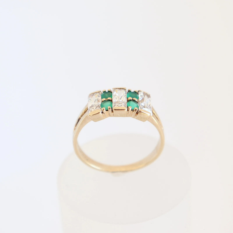 White and Green Cubic Zirconia Dress Ring
