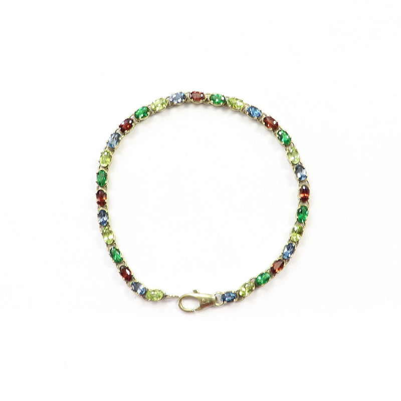 9 kt Yellow Gold Peridot, Garnet and Topaz Tennis Bracelet