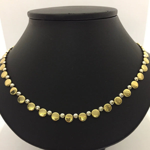 9 kt Yellow and White Gold Dots Necklace - Cape Diamond Exchange