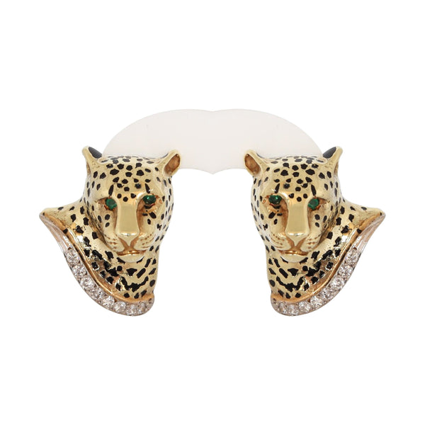 14 kt Yellow Gold Leopard Earrings set with Diamonds and Emeralds