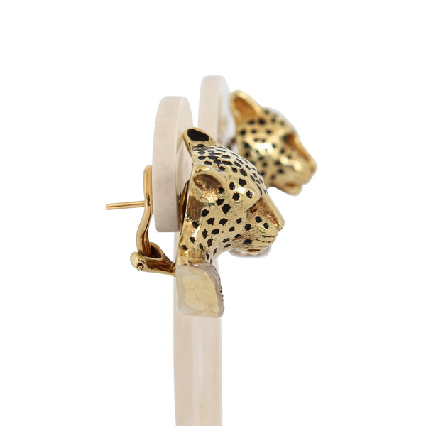 Leopard Head Earrings set in 14 kt Yellow Gold
