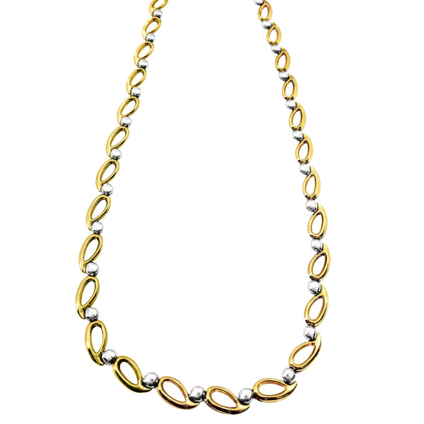 9 kt White and Yellow Gold Loops Necklace - Cape Diamond Exchange