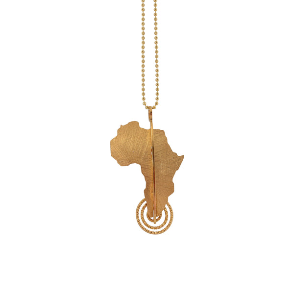 Gold Plated Silver Map of Africa Pendant