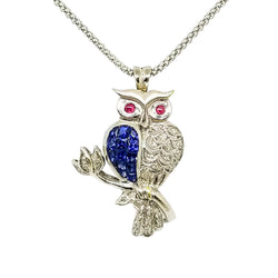 18 kt White Gold Owl Pendant with Diamonds and Sapphires - Cape Diamond Exchange