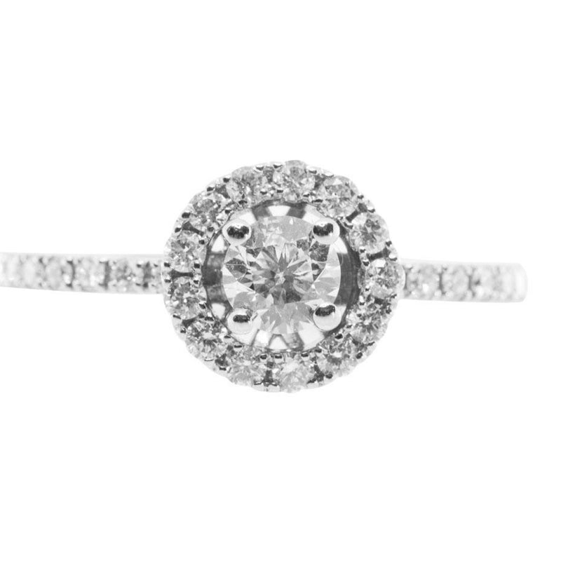 Platinum Halo Engagement Ring with diamonds