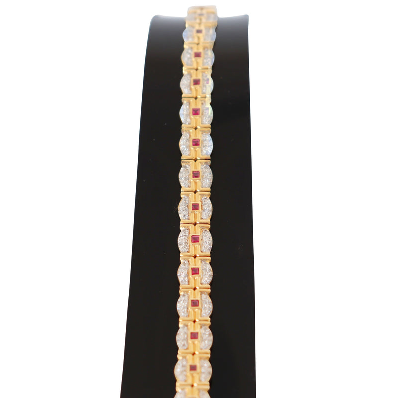 18 kt Yellow Gold Bracelet with Diamonds and Rubies