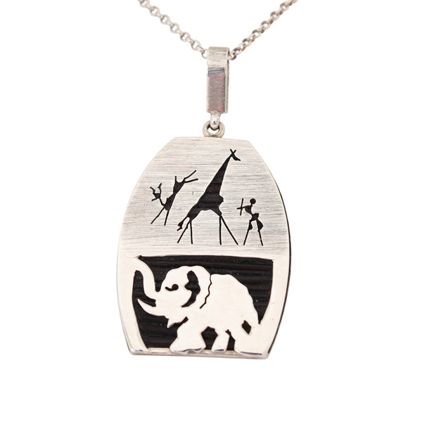 Rock Art Elephant Hair Elephant Pendant in Silver - Cape Diamond Exchange