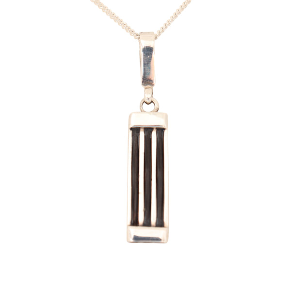 Silver Bar Pendant with Elephant Hair