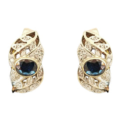18 kt Yellow Gold Half-Hoop Earrings with Sapphire and Diamonds - Cape Diamond Exchange