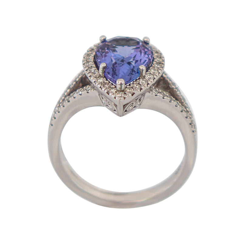 Diamond and Tanzanite Cocktail Ring in 9 kt White Gold