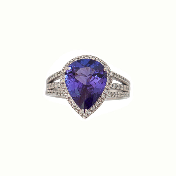 White Gold Pear Shape Halo Tanzanite and Diamond Ring